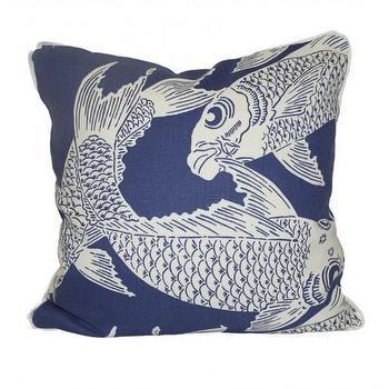 Pillows - calypso navy - Oomphonline - navy, koi, print, blue, graphic, modern, contemporary,