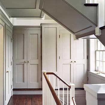 Second Floor Landing Closets, Cottage, entrance/foyer, Donald Lococo Architects