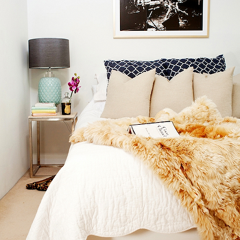Hannah Blackmore Photography - bedrooms - tan pillows, tan bedroom pillows, faux fur throw, faux fur bedroom throws, vintage lamps, milk glass lamps, vintage milk glass lamps, blue table lamps, vintage milk glass lamps, blue vintage lamps, blue milk glass lamps, vintage blue milk glass lamps, glass cloche, contemporary nightstands, modern nightstands, polished nickel nightstands, faux fur throw blanket,