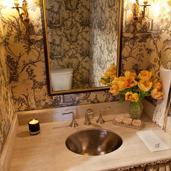 Munger Interiors - bathrooms - chinoiserie bathrooms, toile wallpaper, black and white toile wallpaper, toile bathroom wallpaper, gold and black mirror, gold and black bathroom mirror, french bathroom sconces, french sconces, brass bathroom sconces, french brass bathroom sconces, wood bathroom vanity, skirted bathroom vanity, burlap skirted bathroom vanity, hammered sinks, round hammered sinks, hammered bathroom sinks, hammered metal sinks, hammered metal bathroom sinks, round hammered bathroom sinks, french toile bathroom, skirted vanity, skirted sink, skirted bathroom sink,