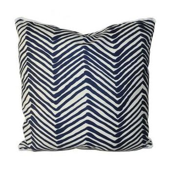 Pillows - zig zag grande navy - Oomphonline - pillow, navy, white, zigzag, zig, zag, blue
