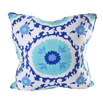 Pillows - suzzani designer pillow - Oomphonline - aqua, blue, cobalt, suzani, pillow,