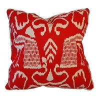Pillows - bali II fireworks - Oomphonline - red, cream, graphic, ikat,  pillow,