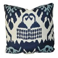 Pillows - kazak navy - Oomphonline - navy, blue, aqua, cream, ikat, pillow,