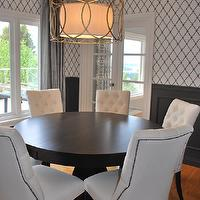 Enviable Designs - dining rooms - sausalito pendant, brass dining room chandeliers, brass dining room pendants, brass drum dining room pendants, trellis, trellis wallpaper, dining room wallpaper, dining room trellis wallpaper, black and white trellis, black and white trellis wallpaper, black and white trellis dining room wallpaper, dining room crown moldings, dining room wainscoting, dining room wainscoted walls, gray wainscoting, gray wainscoted walls, gray silk drapes, dining room silk drapes, round dining tables, espresso dining tables, tufted dining chairs, white dining chairs, white tufted dining chairs, dining chairs nailhead trim, brass nailhead trim, trellis wallpaper, white and black trellis wallpaper, moroccan wallpaper, white and black moroccan wallpaper, quatrefoil wallpaper, white and black quatrefoil wallpaper, moorish tiles wallpaper, white and black moorish tiles wallpaper, Troy Lightings Sausalito Pendant,