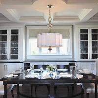 Enviable Designs - dining rooms - china cabinets flanking window, china cabinets, glass-front china cabinets, built-in china cabinets, scalloped dining room chandeliers, scalloped dining room pendants, scalloped dining room lights, klismos chairs, klismos dining chairs, ebony klismos chairs, captain chairs, captain dining chairs, wing captain chairs, black dining tables, white captain dining chairs, black dining room chairs, ebony rectangular dining tables, glossy black dining tables, black dining table, black rectangular dining table, Horchow Scalloped Shade Chandelier,