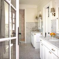 Donald Lococo Architects - bathrooms - ivory master bathrooms, ivory master bathroom paint color, ivory master bathroom walls, ivory master bathroom paint, white carrara marble tiles, white carrara marble bathroom tiles, white carrrar marble backsplash tiles, white carrara marble bathroom backsplash, white bathroom cabinets, carrara marble tops, traditional bathroom mirrors, white bathroom mirrors, white medicine cabinets, gray sconce shades, bathroom sconces, glass shower, carrrar marble shower, bathroom crown molding, hexagonal bathroom tiles, hexagonal bathroom floor, hexagonal floor, marble hexagonal bathroom tiles, marble hexagon bathroom tiles, marble hexagonal floor, carrara marble tub surround, wood panel bathtubs, carrara marble countertops, Restoration Hardware Lugarno Sconce,