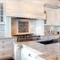 Enviable Designs - kitchens - white shaker kitchen cabinets, wood kitchen hoods, wood paneled kitchen hoods, wood paneled hoods, white wood paneled hoods, white wood paneled kitchen hoods, caesarstone countertops, perimeter kitchen countertops, gray perimeter kitchen countertops, gray perimeter countertops, white kitchen island, bianco romano, bianco romano countertops, bianco romano kitchen countertops, bianco romano island countertops, bianco romano kitchen island countertops, kitchen island sinks, chopping block sinks, modern kitchen faucets, microwave nooks, cooktop backsplashes, kitchen cooktop backsplashes, damask cooktop backsplash, damask kitchen tiles, black damask kitchen tiles, black damask tiles, black damask backsplash tiles, black damask cooktop backsplash, modern marble kitchen backsplash, modern marble kitchen backsplash, cinder caesarstone, cinder caesarstone countertops,
