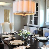 Enviable Designs - dining rooms - gray dining room walls, gray dining room paint, china cabinets, glass-front china cabinets, built-in china cabinets, gray dining rooms, scalloped dining room chandeliers, scalloped dining room pendants, scalloped dining room lights, klismos chairs, klismos dining chairs, black klismos chairs, captain chairs, captain dining chairs, wing captain chairs, black dining table, bi-fold dining room doors, dining room doors, scalloped chandelier, scalloped shade chandelier, scalloped shade pendant, Horchow Scalloped Shade Chandelier,