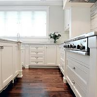 Enviable Designs - kitchens - gray kitchen walls, gray kitchen paint, kitchen TVs, kitchen flatscreens, cherry kitchen floors, white shaker kitchen cabinets, caesarstone countertops, perimeter kitchen countertops, gray perimeter kitchen countertops, gray perimeter countertops, white kitchen island, bianco romano, bianco romano countertops, bianco romano kitchen countertops, bianco romano island countertops, bianco romano kitchen island countertops, cooktop backsplashes, kitchen cooktop backsplashes, damask cooktop backsplash, damask kitchen tiles, black damask kitchen tiles, black damask tiles, black damask backsplash tiles, black damask cooktop backsplash, modern marble kitchen backsplash, modern marble kitchen backsplash, cinder caesarstone, cinder caesarstone countertops, inset cabinets,