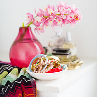Hannah Blackmore Photography - bedrooms - pink vase, missoni throw, missoni towel, vignette,  Gorgeous vignette with Missoni throw, hot pink