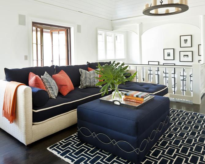 Navy Blue Ottoman Contemporary Living Room Phoebe Howard