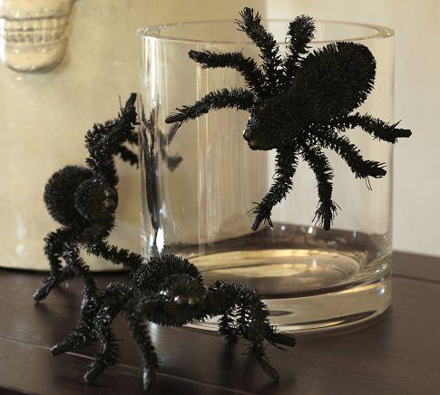 Bottle Brush Halloween Spider Pottery Barn