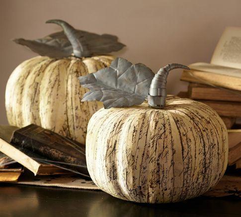 Newsprint Paper Mache Pumpkins Pottery Barn