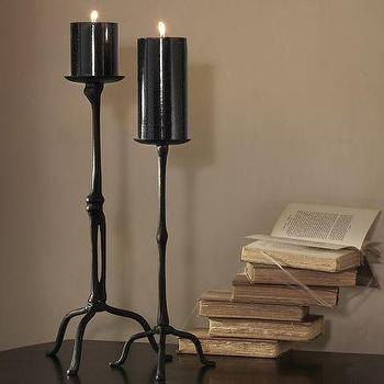 Miscellaneous - Bone Pillar Holders | Pottery Barn - black, metal, bone, candle, holder, halloween,