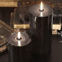 Miscellaneous - Crackle Web Pillar Candles | Pottery Barn - black, crackle, candles, halloween,