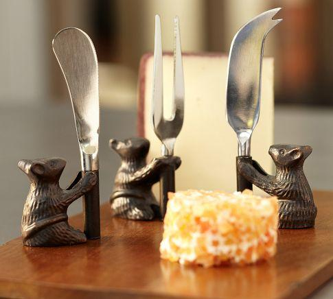 Miscellaneous - Cheese Board & Mouse Knives Set | Pottery Barn - mice, tableware, halloween,