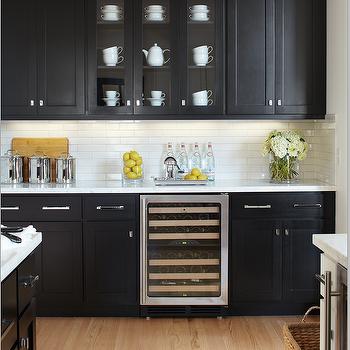 Black Kitchen Cabinets with Marble Countertops, Contemporary, kitchen, Benjamin Moore Black, Urrutia Design