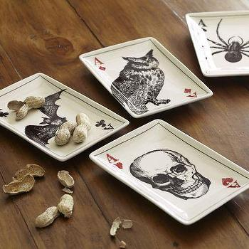Miscellaneous - Ace of Skulls Appetizer Plates, Set of 4 | Pottery Barn - tableware, halloween,
