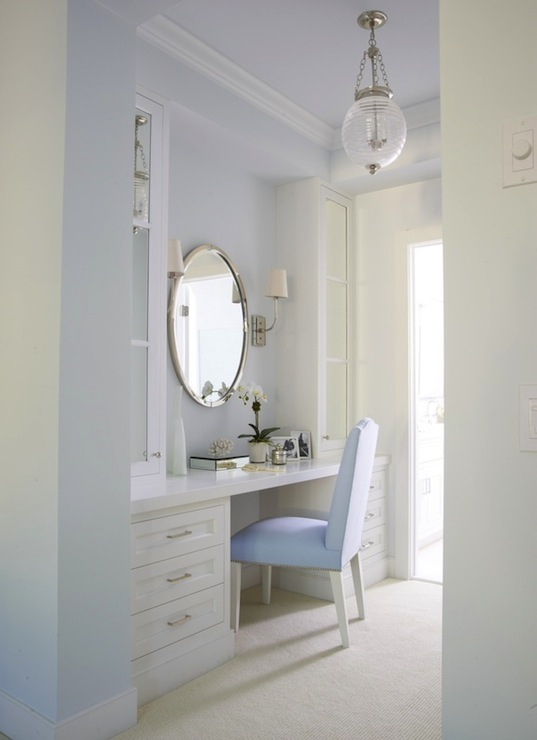 White and blue dressing room transitional bathroom for Bathroom dressing room designs