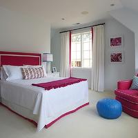 Lynn Morgan Design - girl's rooms - hot pink girl's bedrooms, hot pink and blue bedrooms, hot pink and blue girl's bedrooms, girl's blue bedroom paint color, girl's blue bedrooms walls, girl's blue bedrooms, hot pink headboards, hot pink girl's bedrooms, white ribbon trim, pom pom throw, hot pink pom pom throws, glider, girl's room gliders, swoop arm gliders, hot pink gliders, hot pink swoop arm gliders, cobalt blue, cobalt blue poufs, cobalt blue leather poufs, cobalt blue moroccan poufs, cobalt blue moroccan leather poufs, white nightstands, contemporary nightstands, girl's room nightstands, white drapes, girl's room window treatments, hot pink ribbon trim, girl's room drapes, bed skirt, girl's bedskirts, girl's bed skirts, girl's room bedskirts, girl's room bed skirts, hot pink girls room, hot pink girls bedroom, Bungalow 5 Harlow 1-Drawer Table,