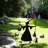 Miscellaneous - Silhouette Witch and Cat Entourage | Wisteria - garden, yard, decor, halloween,