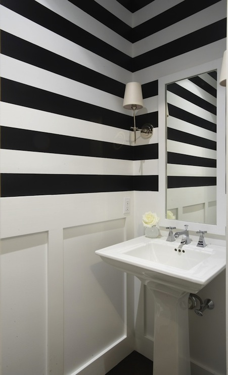 Black And White Striped Walls Contemporary Bathroom