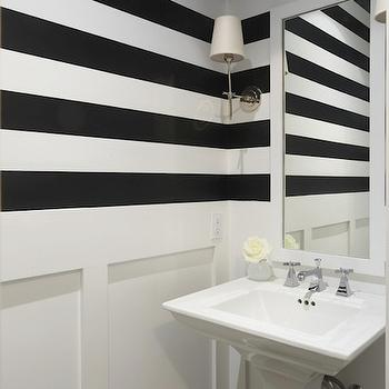 Lynn Morgan Design - bathrooms - white and black, white and black stripes, white and black bathrooms, white and black striped bathrooms, white and black horizontal stripes, white and black powder rooms, white powder room mirror, modern powder room mirror, white modern poder room mirror, pedestal sink, white pedestal sink, polished nickel sconces, bryant sconces, wainscoting bathroom, bathroom wainscoting, wainscoting powder rooms, white wainscoting bathrooms, striped walls, black and white striped walls, Visual Comfort Lighting Bryant Sconce,
