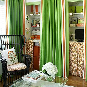 BHG - living rooms - apple green, granny smith apple green, green and orange, green and orange curtains, green and orange drapes, hidden office, office nook, hidden office nook, green and orange office, orange and green office, skirted table, skirted desk, geometric skirted desk, geometric skirted table, orange skirted desk, orange skirted table, orange geometric skirted desk, orange geometric skirted table, acrylic coffee table, black office chair, black wicker office chair, green door moldings, green crown molding, green curtains, green drapes, Adair Acrylic Coffee Table,