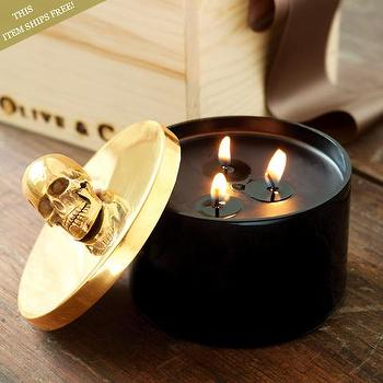 Miscellaneous - Samara Gold Skull Candle - Olive & Cocoa - candle, skull, halloween,