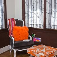 House of Honey - living rooms - woods fabric, roman shades, wood roman shades, playroom roman shades, play room roman shades, playroom window treatments, play room window treatments, bergere chair, french chair, brown bergere chair, velvet bergere chair, french bergere chair, brown french bergere chair, brown velvet bergere chair, orange cushions, brown cushions, orange tufted cushions, brown tufted cushions, brown chair rail, brown walls, brown playroom, brown play room, brown bergere chair, Lee Jofa Eric Kohler Woods Brocatelle Onyx Fabric,