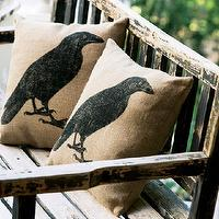 Miscellaneous - Raven Burlap Pillow - Olive & Cocoa - raven, pillow, halloween,