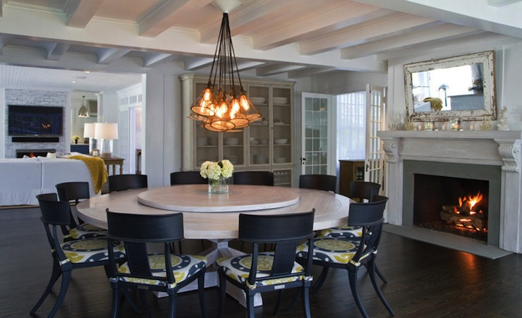 Black And Yellow Chairs Contemporary Dining Room