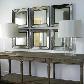 Chango & Co. - entrances/foyers - coastal foyers, beveled mirrors, square mirrors, foyer mirrors, beveled foyer mirrors, white sheers, foyer window treatments, foyer drapes, foyer curtains, foyer window panels, glass lamps, glass console table lamps, glass sofa table lamps, glass lamps, glass column lamps, beachy glass lamps, console tables, sofa tables, salvaged wood console tables, salvaged wood sofa tables, rustic console tables, rustic sofa tables, distressed wood console tables, distressed wood sofa tables, dubois mirrors, salvaged wood console table, Crate & Barrel Dubois Mirror,