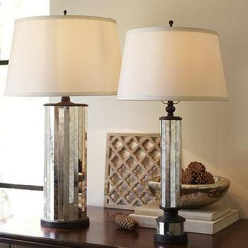 Lighting - Parsons Antiqued Mirror Table Lamp Base | Pottery Barn - antique, mirror, mirrored, table, lamps, lamp