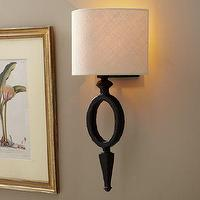 Lighting - Sedona Oval Sconce | Pottery Barn - oval, sconce, curved, bronze, burlap, iron