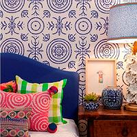 "Absolutely Beautiful Things - bedrooms - cobalt, cobalt blue, velvet headboard, blue headboard, camelback headboard, cobalt blue headboard, cobalt headboard, cobalt blue velvet headboard, cobalt blue camelback headboard, vintage nightstand, bedroom wallpaper, blue bedroom wallpaper, geometric wallpaper, blue geometric wallpaper, blue bedroom wallpaper, geometric bedroom wallpaper, blue geometric bedroom wallpaper, colorful bedroom pillows, chinese ming jars, ming jars, ""Round and Round the Garden"" in Ginger Jar Blue Wallpaper,"