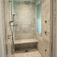 The Wills Company - bathrooms - modern shower, modern marble shower, rain shower head, nickel rain shower head, polished nickel shower head, marble tiles, bathroom marble tiles, marble bathroom tiles, marble shower surround, marble bench, marble shower bench, shower bench, basketweave shower floor, marble basketweave shower floor, shower ventilation, shower ventilation systems, glass shower door, marble shower,