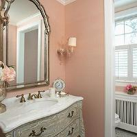 Benedetina bathrooms that are pink and gray for Pink and grey bathroom ideas