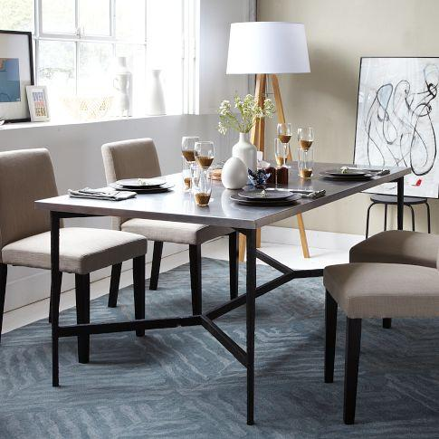 Mix Match Table Metal Base Stainless Steel Top West Elm