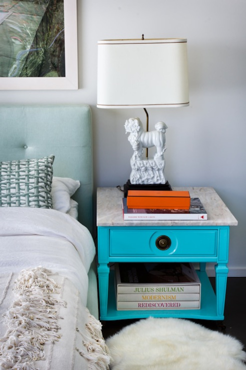 Turquoise Nightstand Eclectic Bedroom House Of Honey