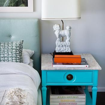 Turquoise Nightstand, Eclectic, bedroom, House of Honey