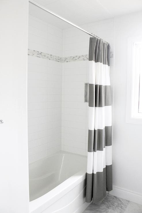 Gray Stripe Shower Curtain Contemporary Bathroom