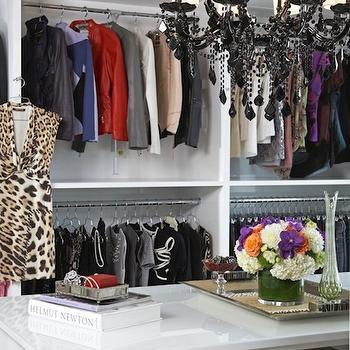 LA Closet Design - closets - walk-in closet, glamorous walk-in closet, stunning walk-in closet, closet island, lacquer closet island, white lacquer closet island, glossy lacquer closet island, glossy white lacquer closet island, closet built-ins, closet built-in cabinets, closet chandelier, black chandelier, black chandeliers, dress form, closet dress form, white closet built-ins, white closet built-in cabinets, closet island storage, closet island shelves, closet chandelier,