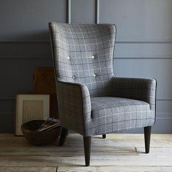 Seating - Victor Chair - Buttoned | west elm - gray, plaid, wool, contemporary, wing, chair