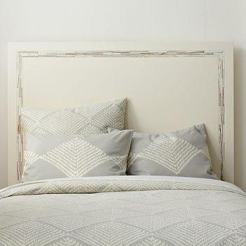 Beds/Headboards - Wood Tiled Headboard | west elm - cream, wooden, headboard, wood, tiled, inlay, inlaid, whitewash, lacquer