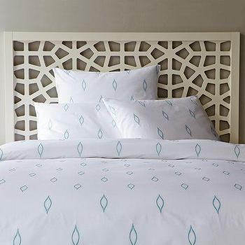 Bedding - Allegra Hicks Embroidered Duvet Cover | west elm - white, ice, blue, embroidered, duvet, cover, bedding