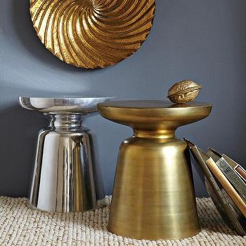 Tables - Martini Side Table | west elm - side, accent, table, stool, gold, silver, aluminum,