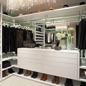 Linear Strand Crystal Chandelier, Contemporary, closet, LA Closet Design
