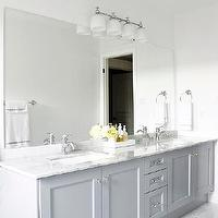 AM Dolce Vita - bathrooms - Benjamin Moore - Pigeon Gray - Bianco Carrara Floor Tiles, Vanity in Benjamin Moore Pigeon Gray, Bianco Statuario countertop, Kohler Fairfax lavatory faucets, gray bathroom, gray bathroom cabinets, double bathroom vanity, gray double bathroom vanity, modern gray bathroom cabinets, bianco statuario, bianco statuario bathroom countertops, double sinks, frosted glass bathroom sconce, frosted glass bathroom sconces, frameless bathroom mirror, modern bathroom faucets, polished nickel bathroom faucets, gray bathroom, gray bathroom cabinets, gray bathroom vanity,